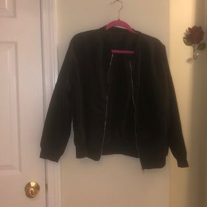 Black Zip up Flight Jacket